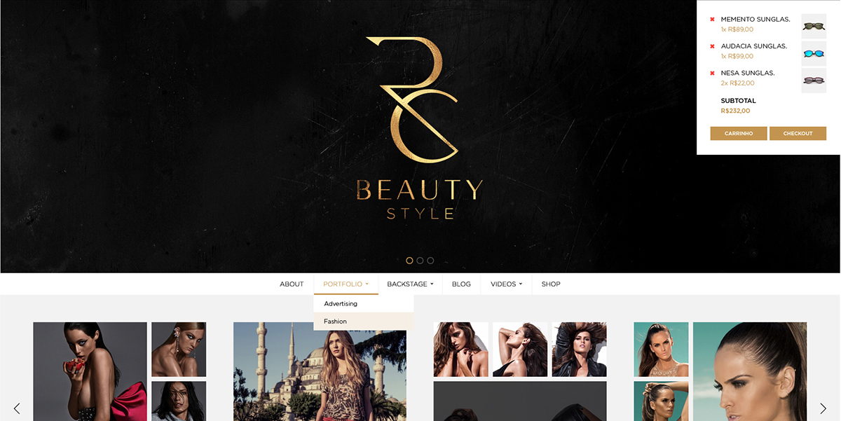 RC Bealty Style: WordPress + E-Commerce Conceito