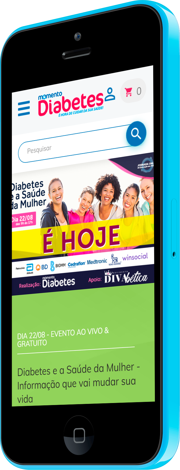Imagem do portfólio Momento Diabetes: WordPress, Loja Virtual, Clube de Assinantes e Fórum